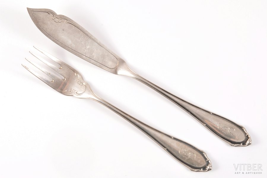 flatware set for 1 person (fish knife + fish fork), silver, 800 standart, the beginning of the 20th cent., 94.30 g, Bremer Silberwarenfabrik, Bremen, Germany, 17.8 + 21.6 cm