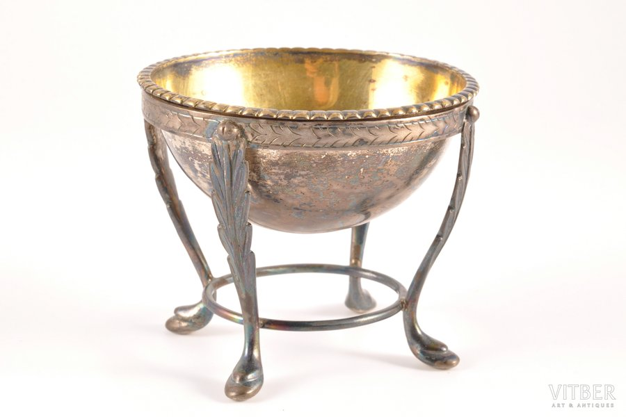 caviar server, silver, 13 lot standart, gilding, the 1st half of the 19th cent., 103.50 g, Germany (?), 6.5 x 7.3 x (h) 6 cm