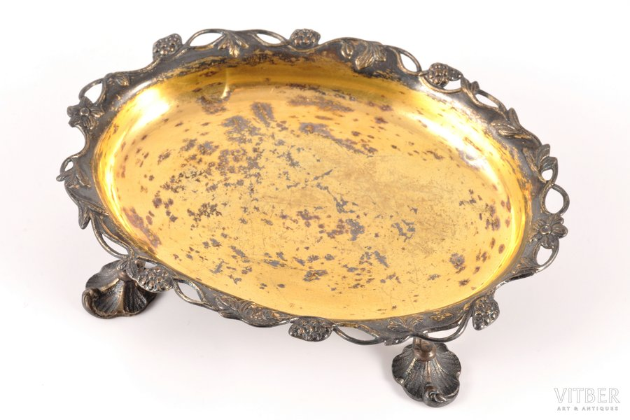 jewelry tray, silver, 13 lot standart, gilding, silver stamping, the border of the 18th and the 19th centuries, 78.15 g, 12.8 x 9.5 cm