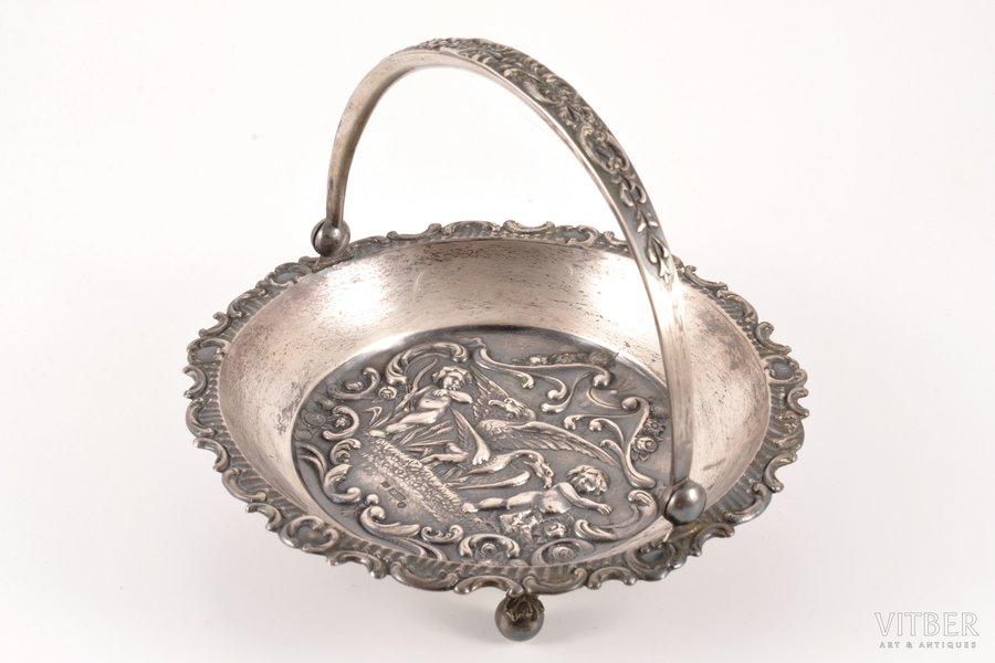 candy-bowl, silver, 875 standart, the 30ties of 20th cent., 168.50 g, by Ludwig Rozentahl, Riga, Latvia, Ø 14.5 cm