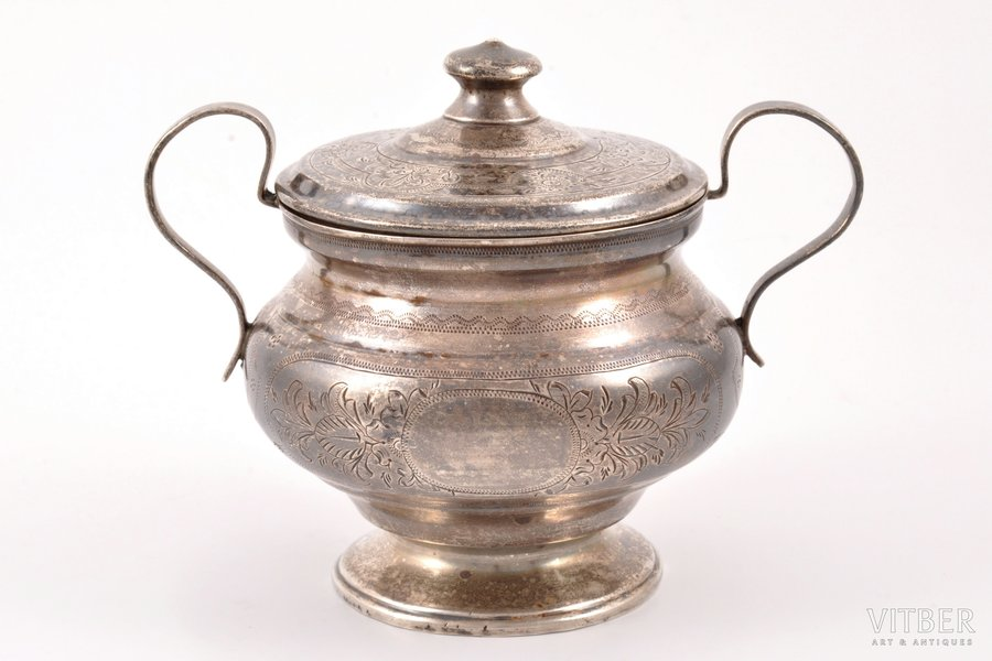 sugar-bowl, silver, 84 standart, engraving, 1875, 239.85 g, Moscow, Russia, h (with a lid) 11.5 cm