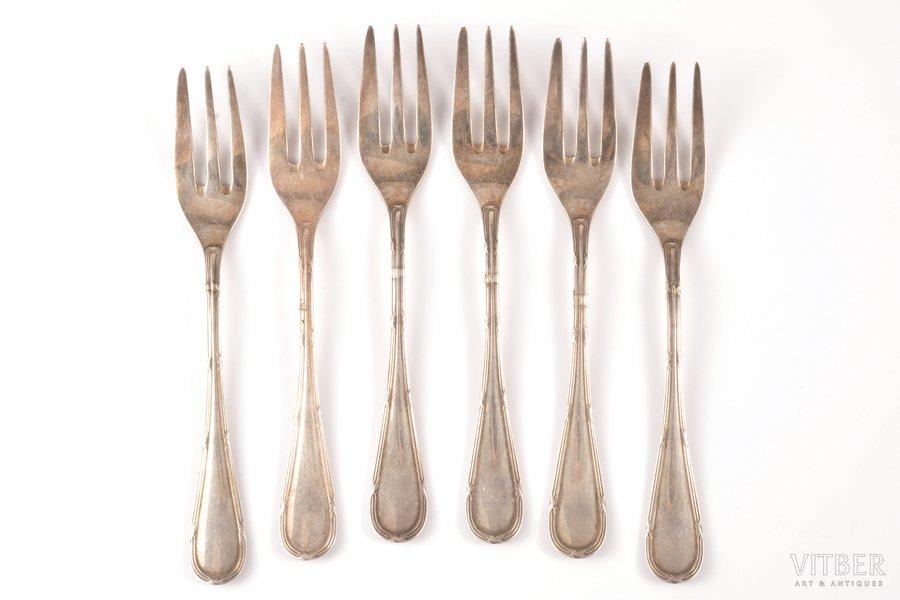 set of 6 dessert forks, silver, 925 standart, the 20-30ties of 20th cent., 162.45 g, Koch & Bergfeld, Bremen, Germany, 14.5 cm