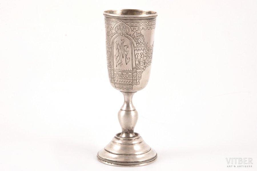 кубок, серебро, 84 проба, штихельная резьба, 1889 г., 74.45 г, Москва, Российская империя, h 13.5 см