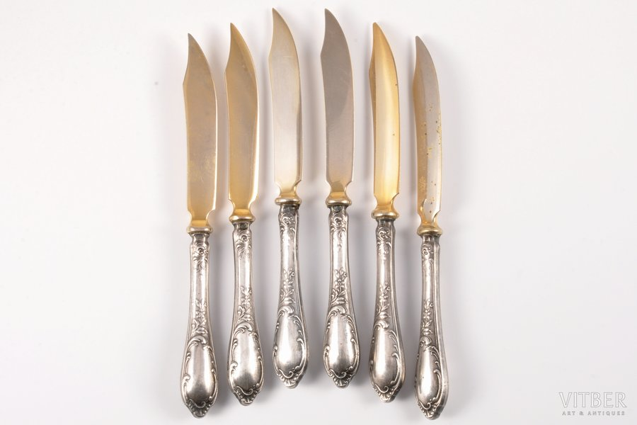 set of 6 fruit knives, silver, metal, 875 standart, the 30ties of 20th cent., (total) 183.00 g, Latvia, 16.5 cm