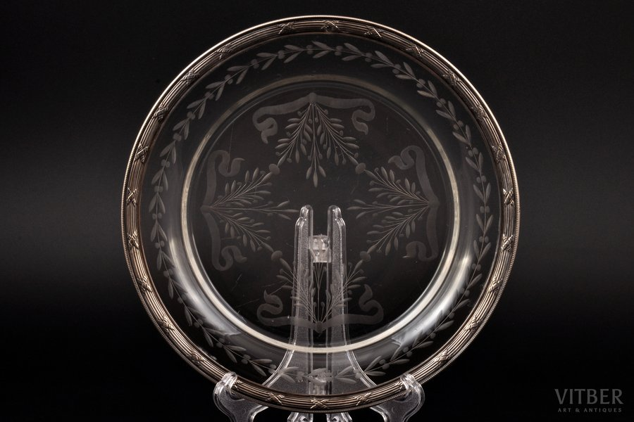 plate, silver, 950 standart, glass, the beginning of the 20th cent., France, Ø 20.7 cm
