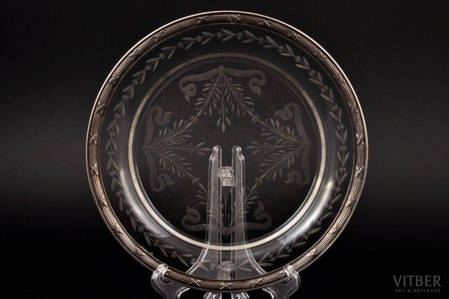 šķīvis, sudrabs, 950 prove, stikls, 20. gs. sākums, Francija, Ø 20.7 cm