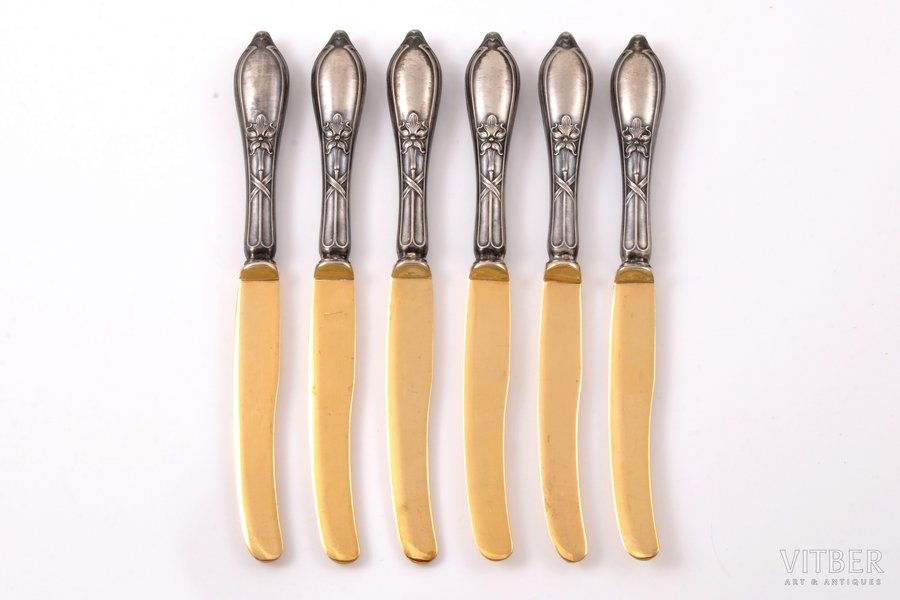 set of 6 fruit knives, silver, metal, 875 standart, gilding, the 30ties of 20th cent., 163 g, (total weight of items), Latvia, 16.7 cm