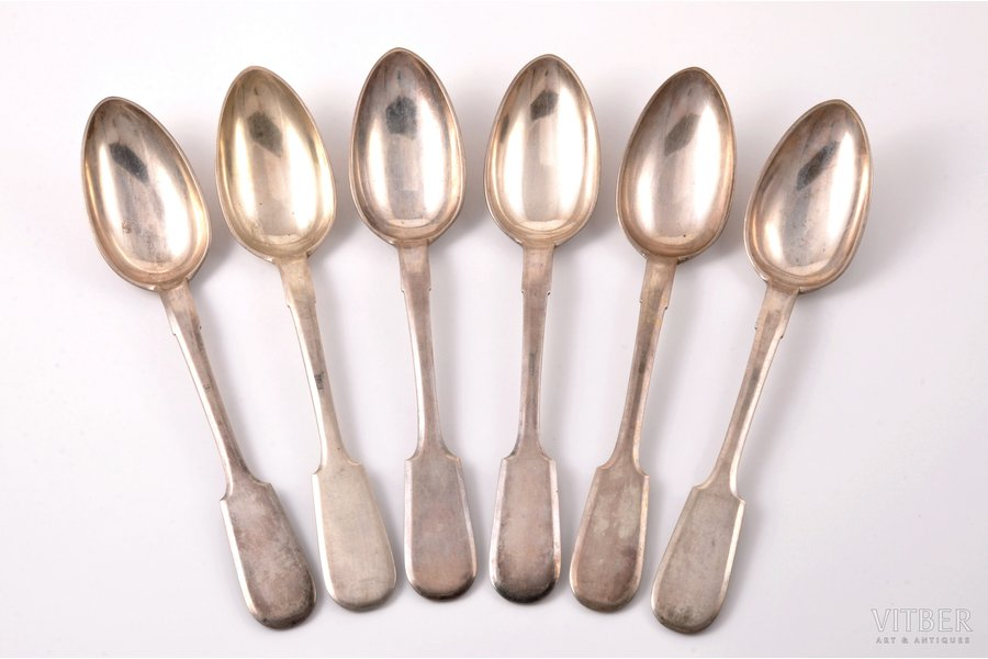 set of 6 soup spoons, silver, 84 standart, 1899-1908, 529.10 g, Vilna, Russia, 21.8 cm