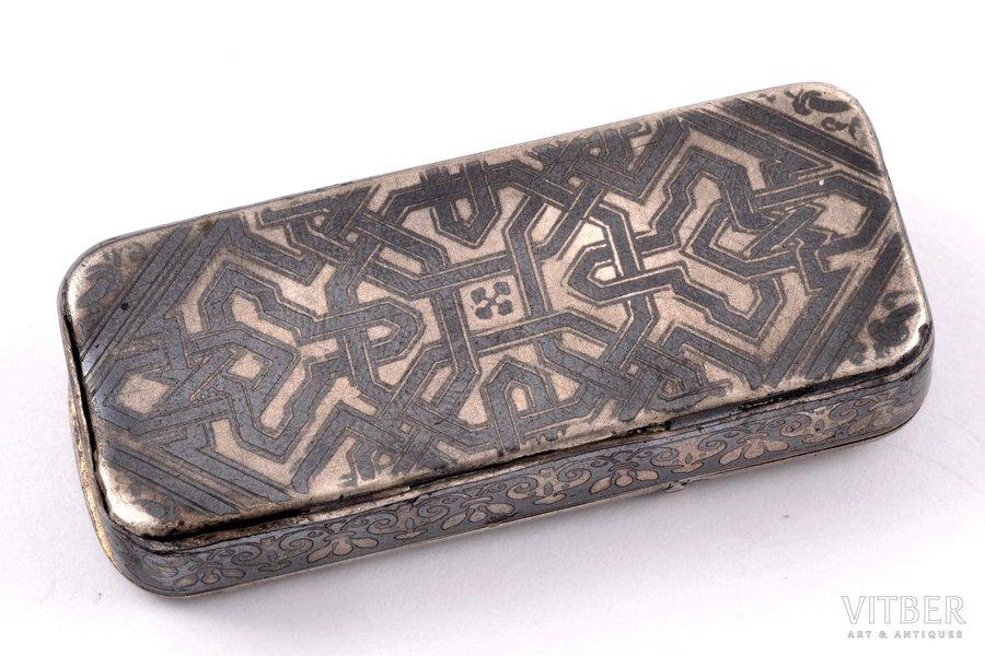 matches' holder, silver, niello enamel, 1870-ties, 25.35 g, France, 5.55 x 22.5 x 1.14 cm