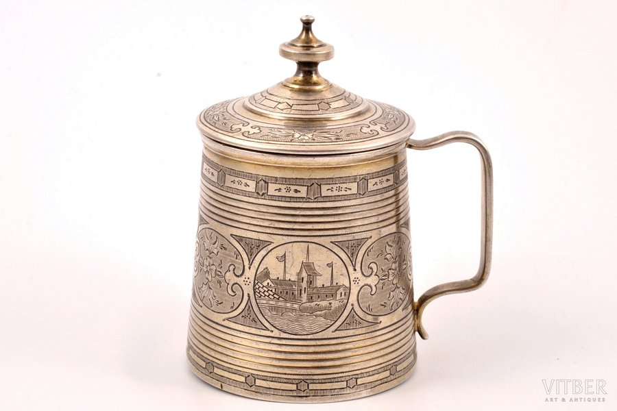 mug, silver, 84 standart, engraving, 1870, 146.15 g, by Michael Karpinsky, Moscow, Russia, Ø 6.7 cm, h (with lid) 10 cm