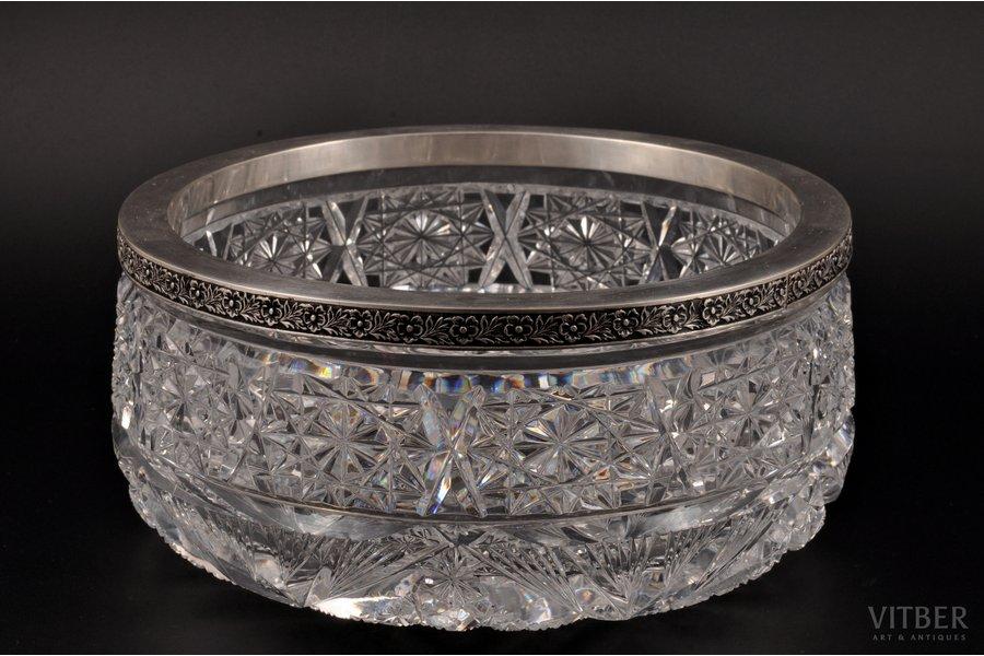 конфетница, серебро, 875 проба, хрусталь, 30-е годы 20го века, Латвия, Ø 20.8 см