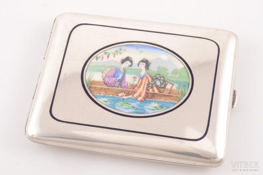 """портсигар, серебро, 800 проба, """"На память 1904-05"""", эмаль, штихельная резьба, начало 20-го века, 173.35 г, Австро-Венгрия, 10.1 x 8.1 x 1.5 см"""
