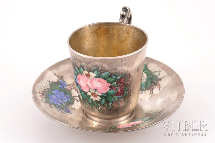 tea pair, silver, 84 standart, large cup (weight 189.55 g), painted enamel, 1880, 374.00 (189.55 + 184.45) g, workshop of Pavel Ovchinnikov, Moscow, Russia, h (cup) 8.3 cm, Ø (plate) 13.2 cm