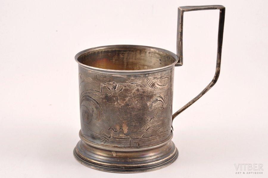 glāzes turētājs, sudrabs, 84 prove, māksliniecisks gravējums, 1908-1917 g., 88.60 g, Maskava, Krievijas impērija, h 10.6 cm, Ø (iekšpuse) 6.6 cm