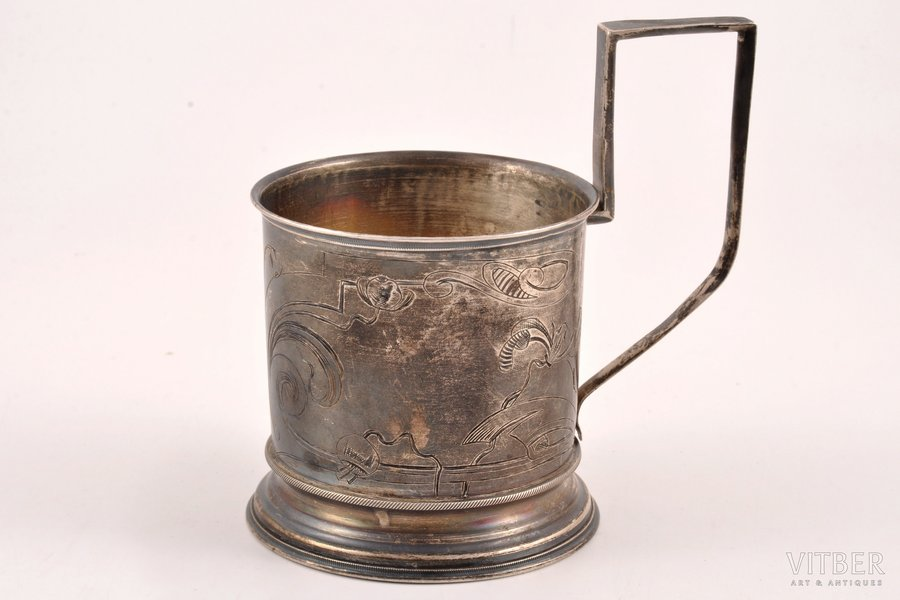 tea glass-holder, silver, 84 standart, engraving, 1908-1917, 88.60 g, Moscow, Russia, h 10.6 cm, Ø (inside) 6.6 cm