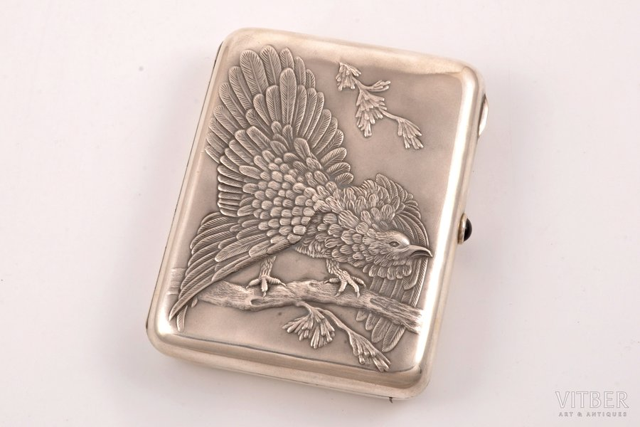 """cigarette case, silver, 875 standart, """"Grouse"""", gilding, silver stamping, 1955, 166.35 g, """"Moscow Jeweller"""" artel, Moscow, USSR, 10.9 x 8.6 x 2.2 cm"""
