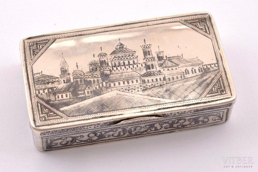 tabakas doze, sudrabs, 84 prove, melnināšana, 1899-1908 g., 63.80 g, meistars Aleksandrs Nikolajevs Ogorodņikovs, Selo Krasnoje, Krievijas impērija, 7.2 x 4 x 1.7 cm