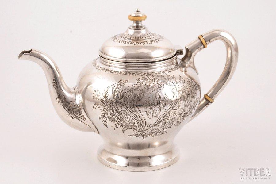 small teapot, silver, 84 standart, engraving, 1896-1907, 360.80 g, Varvara Baladanova factory, Moscow, Russia, h 13.2 cm