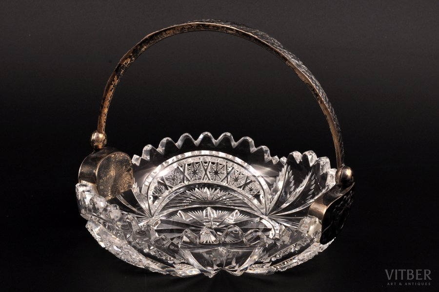 candy-bowl, silver, 875 standart, crystal, the 30ties of 20th cent., Latvia, Ø 14.5 cm