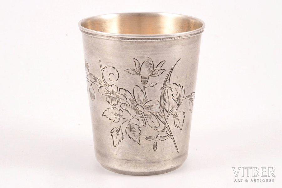 goblet, silver, 84 standart, engraving, 1899-1908, 73.45 g, Moscow, Russia, 7.2 cm