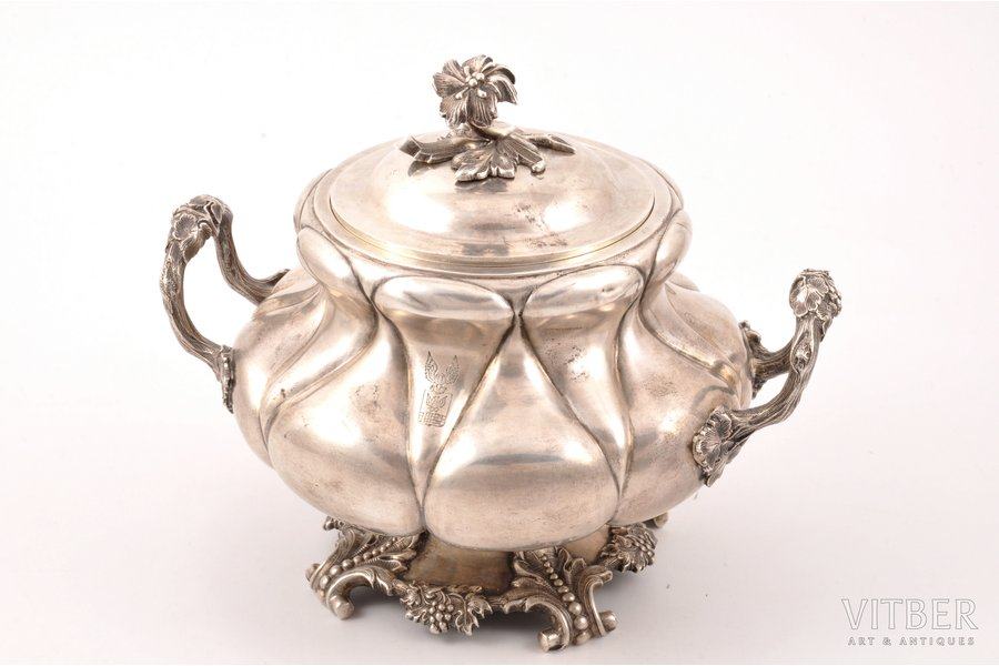 sugar-bowl, silver, 84 standart, gilding, 1850, 757.40 g, by Carl Seipel, St. Petersburg, Russia, h (with a lid) 15.5 cm