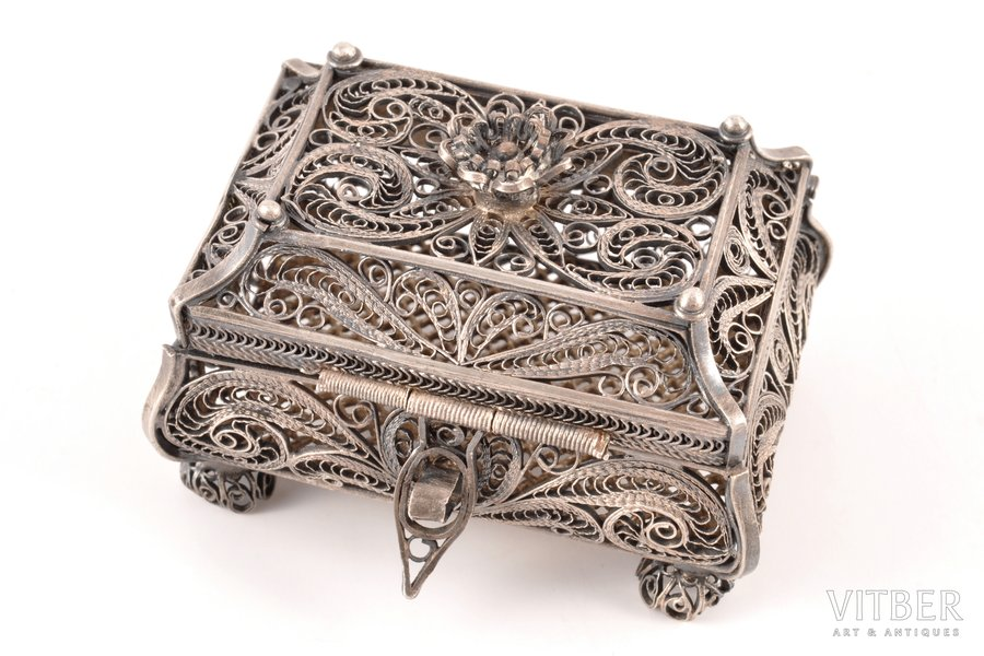 case, silver, 88 standart, filigree, 1880, 73.80 g, by Mikhail Andreyev, Moscow, Russia, 6.7 x 4.8 x 4.3 cm