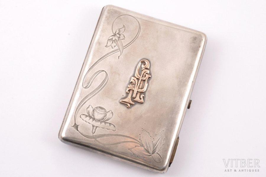 cigarette case, silver, 84 standart, with gold monogram, engraving, 1908, 171.10 g, Alexander Gerasimovich Krivovichev's workshop, Moscow, Russia, 11.2 x 8.6 x 1.7 cm