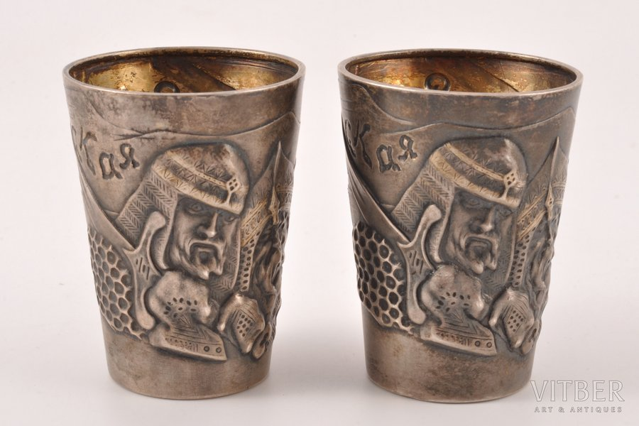 2 beakers, silver, 84 standart, 1908-1916, (total) 75.70 g, by Mikhail Tarasov, Moscow, Russia, 5 cm