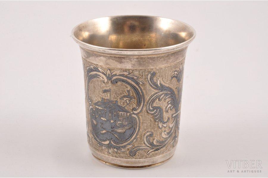 beaker, silver, 84 standart, engraving, niello enamel, 1847, 50.75 g, Moscow, Russia, 5.6 cm