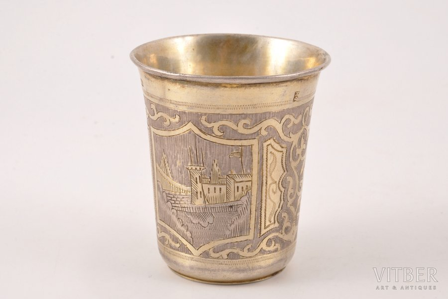 goblet, silver, 84 standart, engraving, gilding, 1864, 69.95 g, Moscow, Russia, 6.7 cm