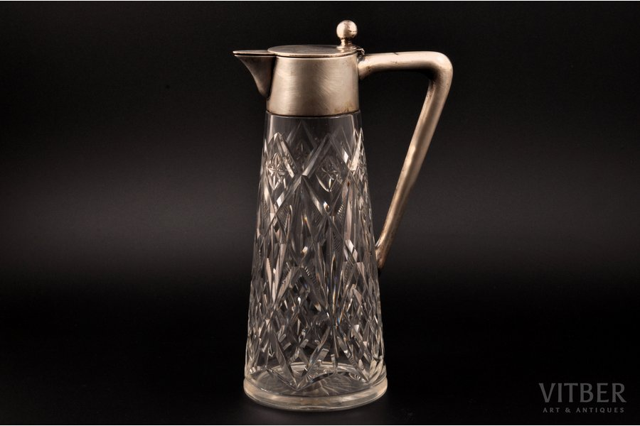 carafe, silver, 800 standart, crystal, the beginning of the 20th cent., Germany, h 27.7 cm