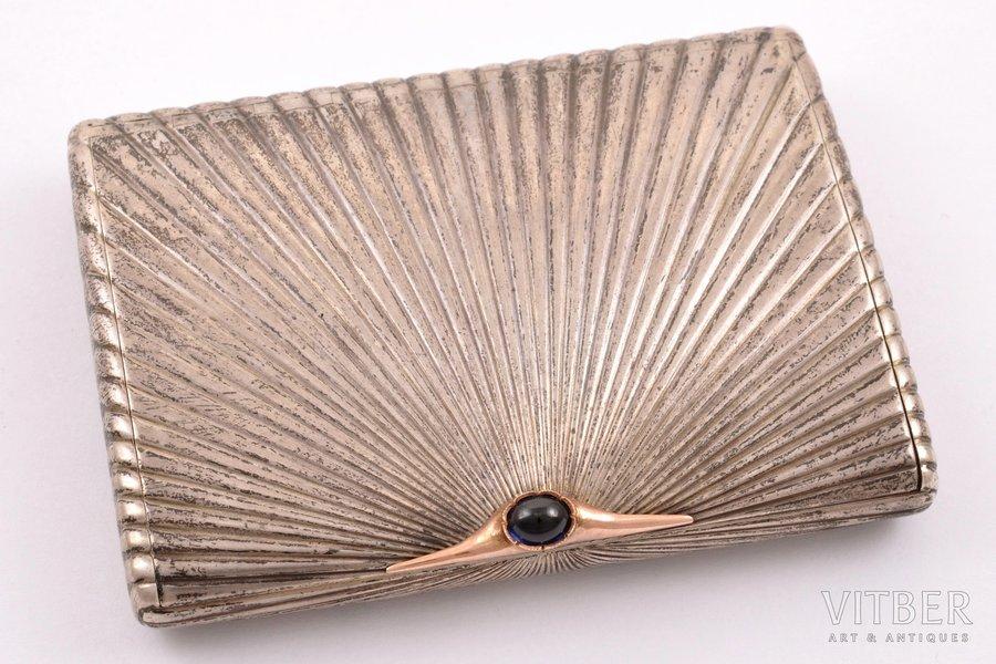 cigarette case, silver, 84 standart, gilding, 1908-1917, 164.50 g, workshop of Alexander Karpov, St. Petersburg, Russia, 10.1 x 7.5 x 1.7 cm