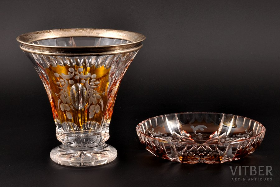 set, silver, 835 standart, vase and plate, 2-color crystal, the beginning of the 20th cent., Germany, (vase) h 14.1 см, (plate) Ø 15 cm
