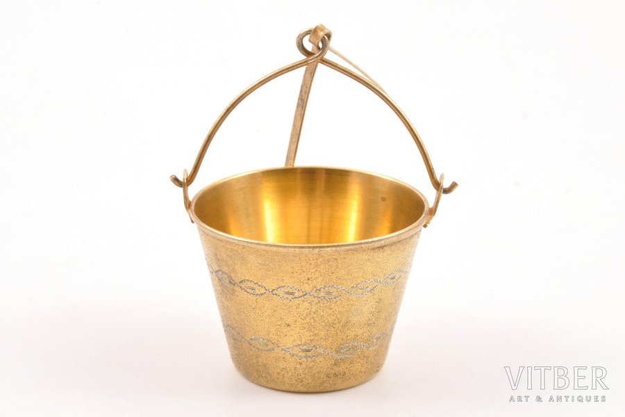 """strainer, silver, 875 standart, """"Bucket"""", engraving, gilding, 1961, 22.50 g, Tbilisi Jewelry Factory, Tbilisi, USSR, Ø 4.1 cm"""
