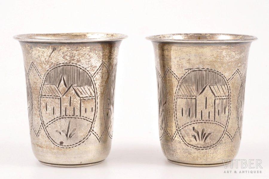 pair of beakers, silver, 84 standart, engraving, 1895, 44.35 g, Kiev, Russia, h 4.7 cm