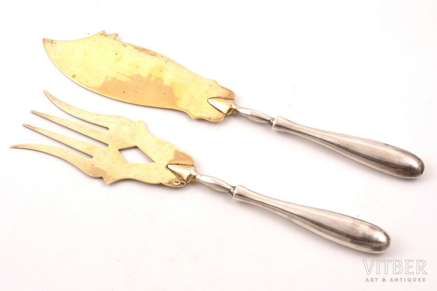 set, fish knife and fish fork, silver, 875 standart, gilding, 1963, 118.15 g (total weight of items), Tbilisi Jewelry Factory, Tbilisi, USSR, 27.5 / 25.2 cm