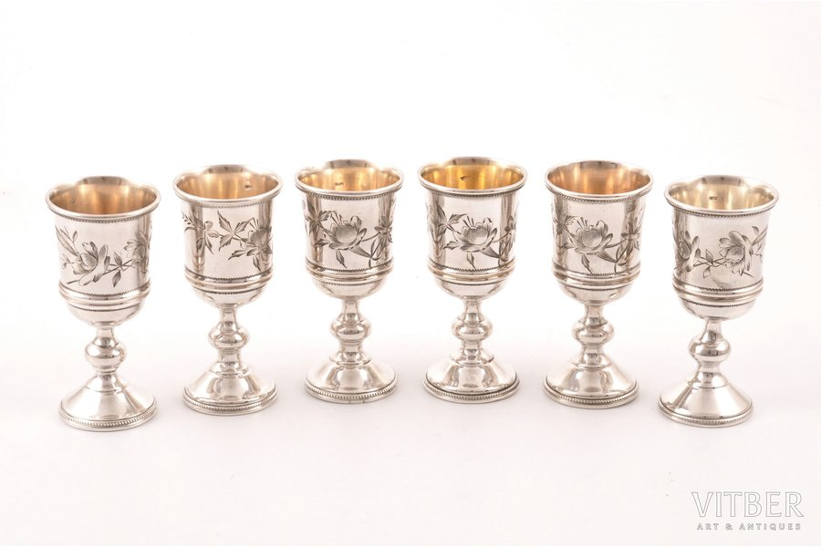 6 little glasses, silver, 84 standart, engraving, 1899-1908, (total) 163.40 g, Moscow, Russia, h 7.1 cm