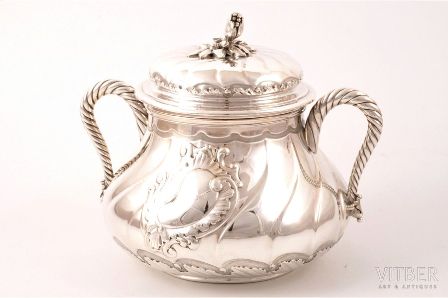 sugar-bowl, silver, 950 standart, the 2nd half of the 19th cent., 525.80 g, Ouizille Lemcine, France, h (with a lid) 14.5 cm