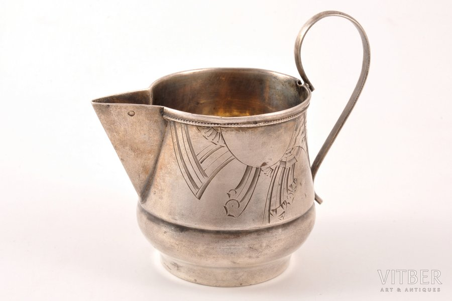 sauce-boat, silver, 84 standart, engraving, 1908-1916, 51.10 g, Kostroma, Russia, h (with handle) 7.4 cm