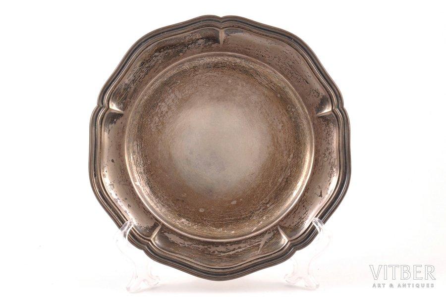 plate, silver, 826 standart, 1915, 294.15 g, Denmark, Ø 20.5 cm