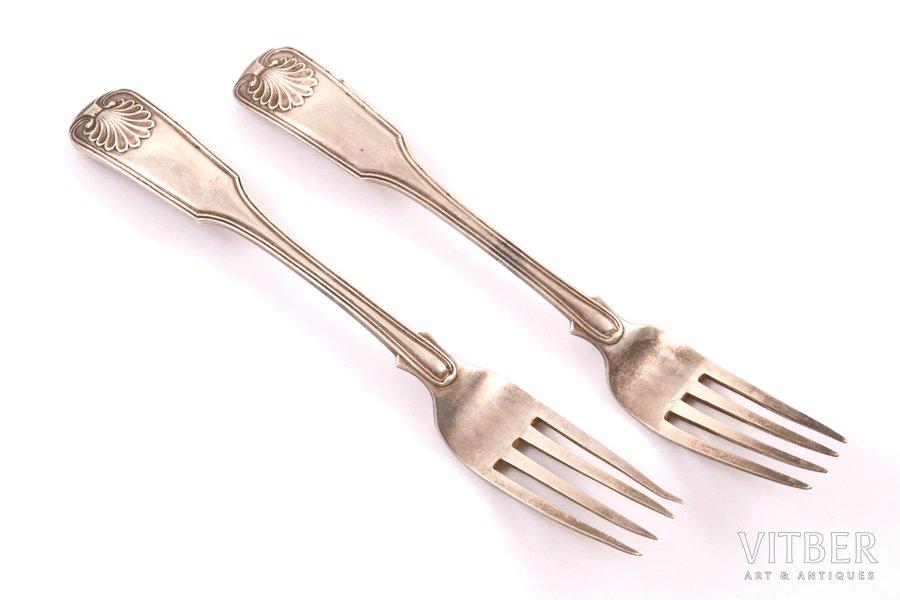 set of forks, silver, 84 standart, 1818-1826, 93.05 g, by Akerblom Iohann Henrik, St. Petersburg, Russia, 16.7 cm