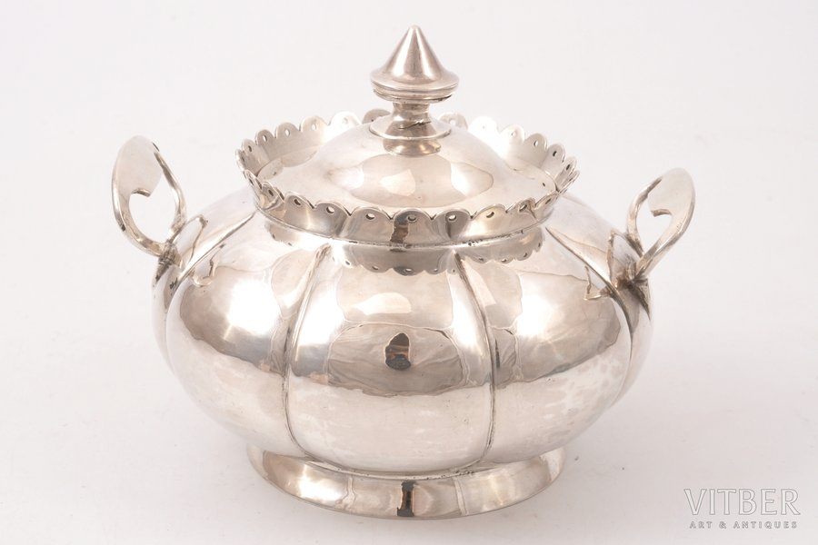 sugar-bowl, silver, 84 standart, 1868, 228.95 g, by Mikhail Shein, Moscow, Russia, h (with a lid) 10 cm