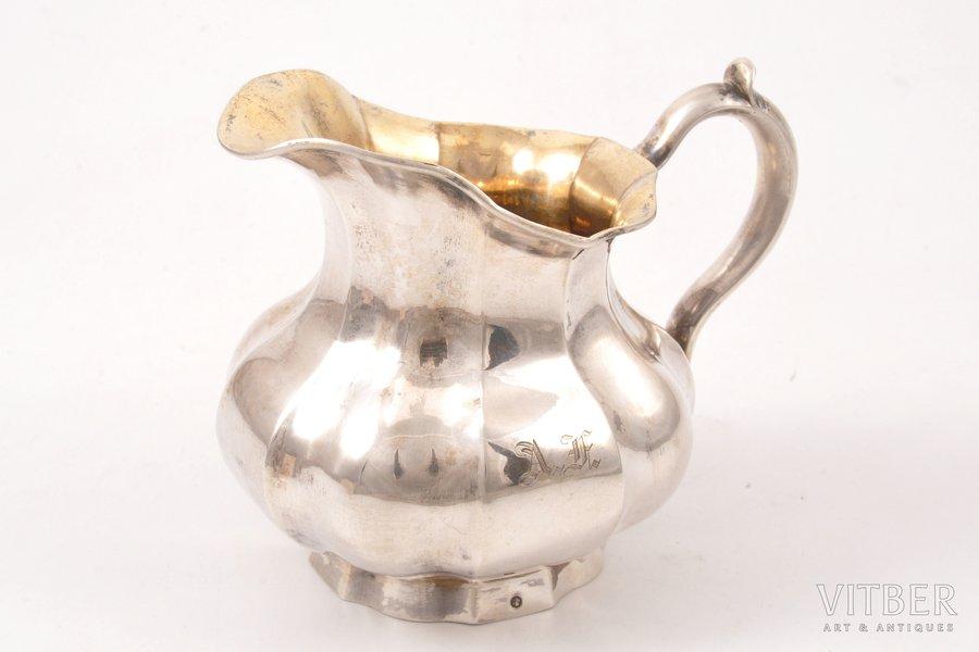 cream jug, silver, 84 standart, gilding, 1864, 143.70 g, St. Petersburg, Russia, 9.5 cm
