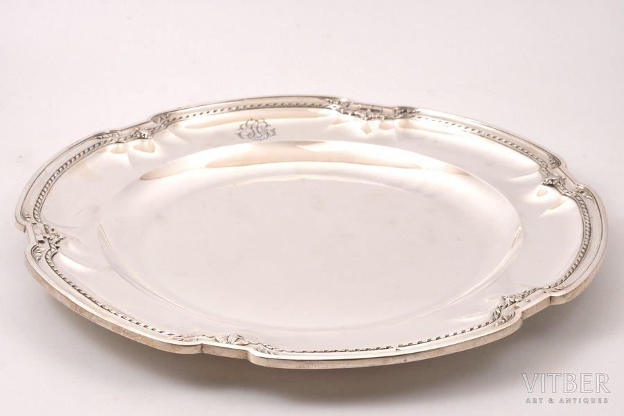 блюдо, серебро, 950 проба, 2-я половина 19-го века, 1030 г, Франция, 34 x 32.5 см