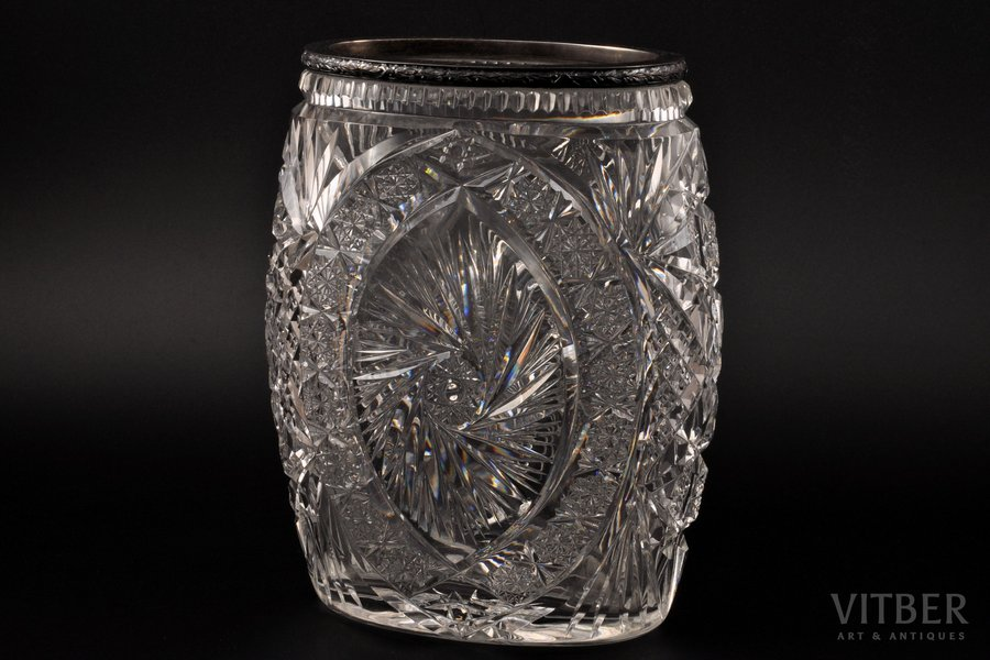 a vase, silver, 875 standart, crystal, the 20-30ties of 20th cent., Latvia, h 22 cm