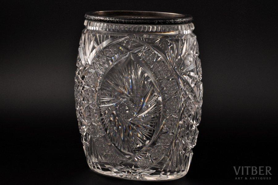 ваза, серебро, 875 проба, хрусталь, 20-30е годы 20го века, Латвия, h 22 см
