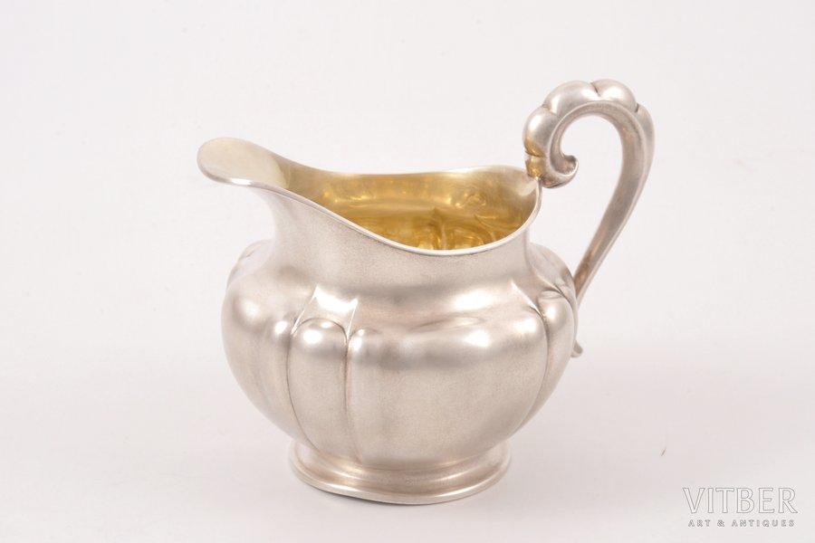 cream jug, silver, 830 standart, gilding, the beginning of the 20th cent., 86.60 g, Gottlieb Kurz, Schwäbisch Gmünd, Germany, h 8.9 cm