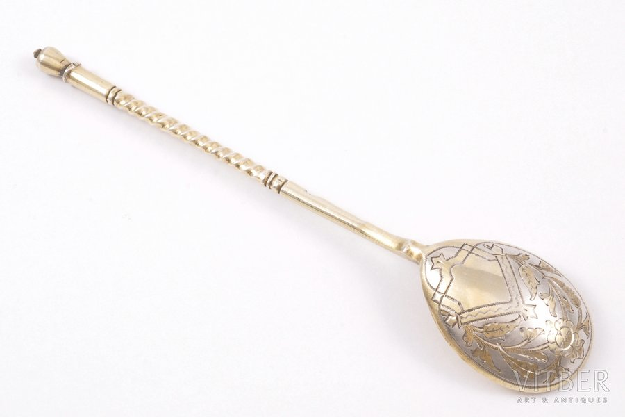 teaspoon, silver, 84 standart, engraving, gilding, 1889, 23.95 g, workshop of Ivan Alexeyev, Moscow, Russia, 14.3 cm
