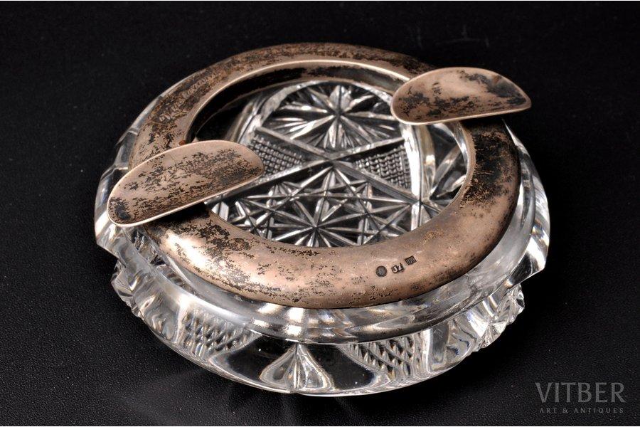 пепельница, серебро, 875 проба, хрусталь, 20-30е годы 20го века, Латвия, Ø 10 см
