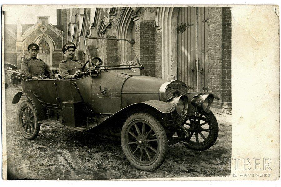 фотография, Царская Россия, солдаты в легковом автомобиле, начало 20-го века, 13.8x8.8 см